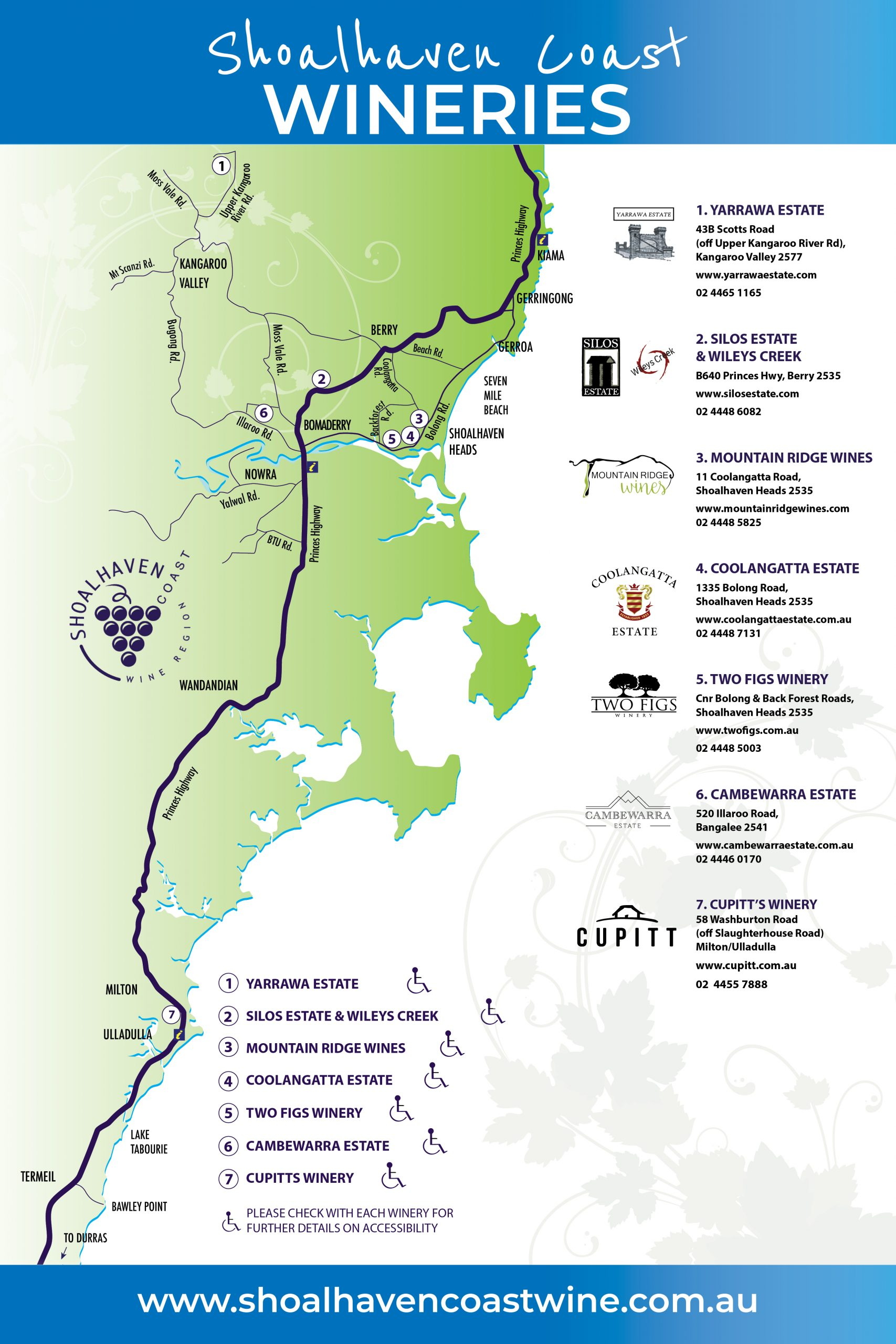 Shoalhaven Coast Wineries - Wine Trail Map 2020